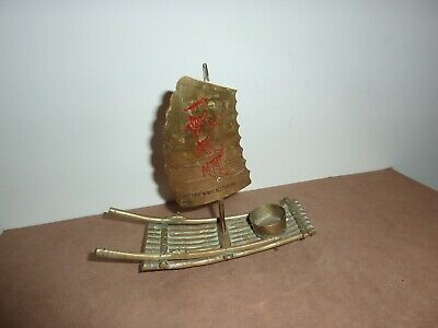 Vintage Chinese/Oriental 19Cm Long Brass Candle/Incense Burner Raft With Sail