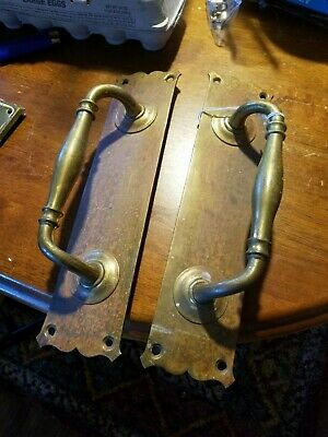 """BRASS EDWARDIAN DOOR PULL HANDLES 12"""" HEAVY PLATES KNOBS GRAB marked Gibbons"""