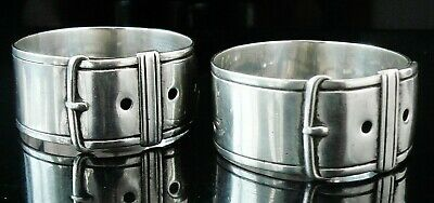 Pair Antique Silver Napkin Rings of Belt Buckle Form, Sheffield 1875
