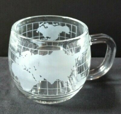 The Nestle Inc set 4 vintage 1980's clear glass etched frosted globe mugs cups