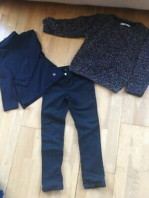 Girls Benetton & M&S bundle trousers, top & sparkly (Christmas) jumper 6-7 yrs