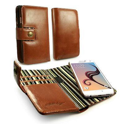 Alston Craig Personalised Leather Magnetic Wallet Case for Galaxy S6 Edge -Brown