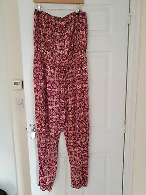 Ladies Multicolored NEW LOOK VISCOSE STRAPLESS JUMPSUIT SIZE 18