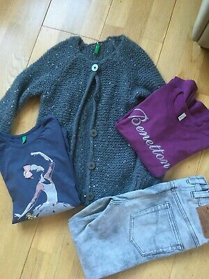 Benetton and Next girls bundle trouser, tops and cardigan 6 years
