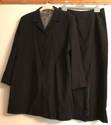 Marks & Spencer Ladies Smart Suit Long Skirt Jacket Navy Wool Size 14/16 VGC