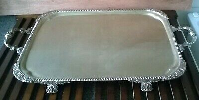 Antique/Vintage Silverplate-On-Copper, 4 Footed & Handle's Butler's Serving Tray