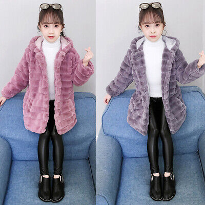 Kids Baby Girls Teddy Bear Fleece Hooded Coat Button Hoodie Jacket Warm Overcoat