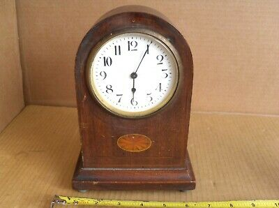 Vintage Not Working Mantel Clock Lion Brass Movement Brass Casing & Back Wood