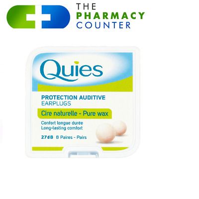 Quies Pure Natural Wax Ear Plugs x 8 Pairs x 3PACKS