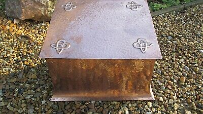 Antique copper arts and crafts coal box