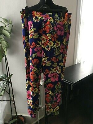 BNWT River Island Purple Floral Trousers - Size 12