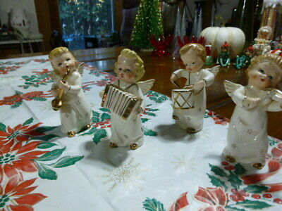 Vintage Angel Musicians Band White Porcelain Gold Stars Ceramic Japan  Figurines
