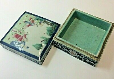 Fine 18 Th Century Chinese Famille Rose Blue And White Ink Box