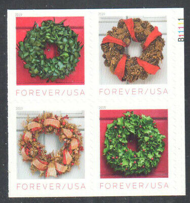 SC#5424 - 5427 - (Forever) Holiday Wreaths Booklet Pane of 4 MNH #2 w/P#