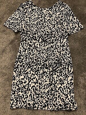 ASOS Black & White Leopard Print Dress Size 14 Brand New With Tags