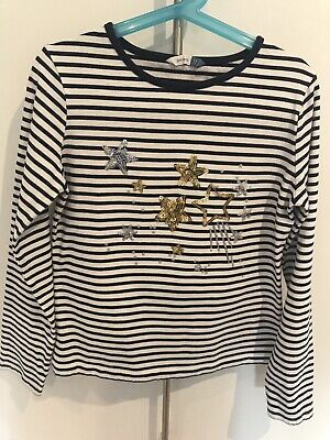 Girls John Lewis Age 11 Top Navy Stripe Sequinned