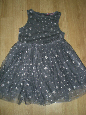 Girls Dark Grey, Party Dress with Glittery Stars, Young Dimensions, 7-8yrs