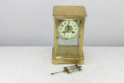 Antique French J Marti Brass Case & Glass Mantel Shelf Clock