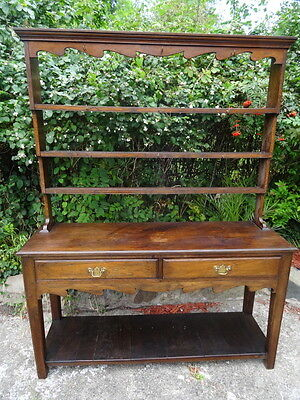 Large Kitchen Farmhouse Antique Victorian Welsh Oak Dresser Rack 19th Century