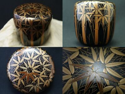 Japanese Lacquer Wooden Tea caddy BAMBOO FOREST design in makie Natsume (1108)