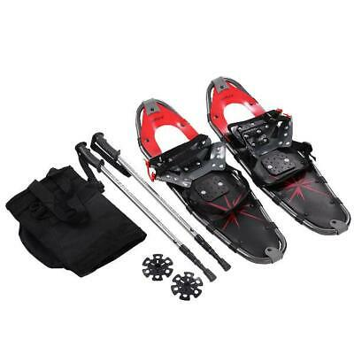 Costway 27'' RED All Terrain Sports Snowshoes + Walking Poles + Free Carrying Ba