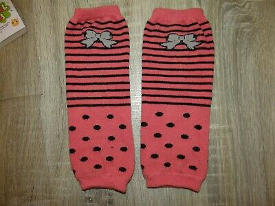 Girls Kids pink leg warmers/BOW knee Size SMALL 2-5 years striped dotty