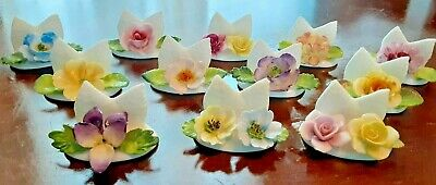 Set of 12 Coalport Bone China Made In England Floral Place Card Holders