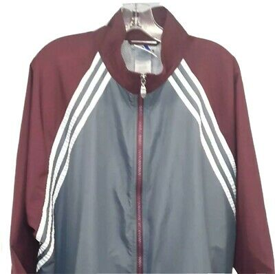 Adidas 3 Stripe Vented Windbreaker Mens L Gray Burgundy Red Zip Pockets Adj Hem