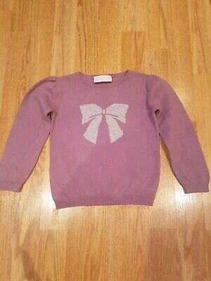 Little White Company Jumper with Silver Bow 2 Years Girls Sparkly Glittery