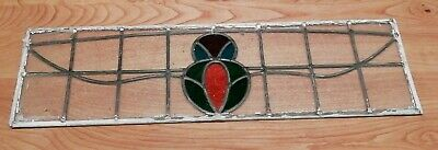Vintage Leaded Stained Glass Small Window Panel (3 of 4) 86cm x 25.5cm