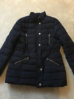 Massimo Dutti girls navy lined puffa jacket. Size 11/12 yrs.