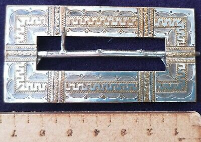 Vintage Art Deco Breveté French Buckle Silver Plated Engraved Gold Stunning