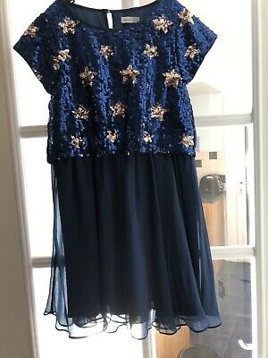 John Lewis girls blue sequin party Dress Age 8. Great Condition.