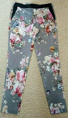 Gorgeous River Island Satin Feel Floral Trousers Size 8