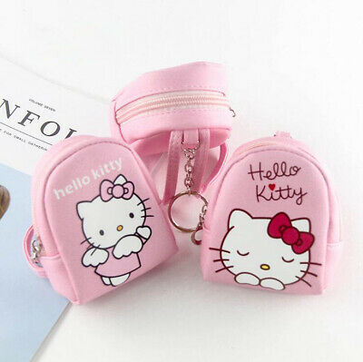 Cute Pink Hello Kitty Mini Backpack With Straps Keychain Coin Purse Keyring Gift