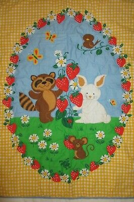 NEW Quilted BABY CRIB BLANKET/ WALL HANGING Raccoon Bunny Strawberries