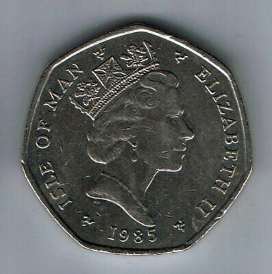 1985 Isle of Man 50p Fifty Pence coin