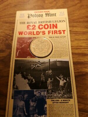1995 Isle of Man Two Pounds £2 coin : VE VJ Day Second World War