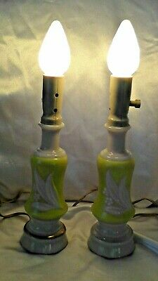Vintage Pair Aladdin Alacite Uranium Art Glass Lamps w/Original Bulbs