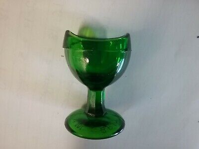 ANTIQUE GREEN GLASS EYE WASH CUP CHEMIST MEDICAL MEDICINAL 1920s