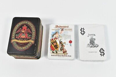 Vintage Double Deck of Anheuser-Busch Budweiser Playing Cards w/ Collectors Tin