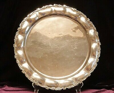 "LOVELY Mexican Sterling Silver .925 Lg 14"" Rd Fluted Scroll Serving Platter Tray"