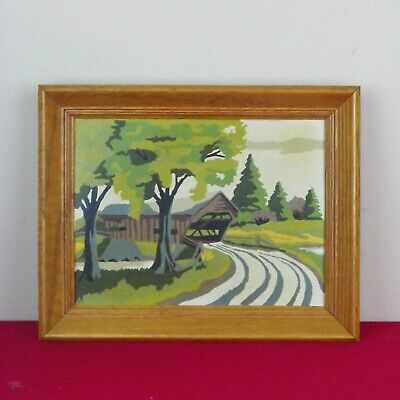 Vintage 50s 60s Paint By Number Covered Bridge Pine Trees Oak Frame 12 x 15
