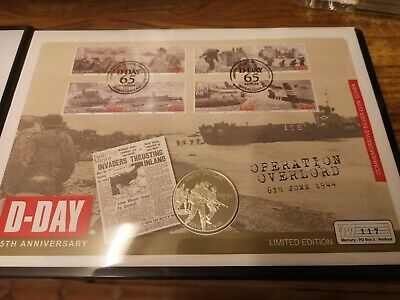 2009 Jersey silver proof £5 Five pounds coin : 28.3g : Normandy Landings COVER