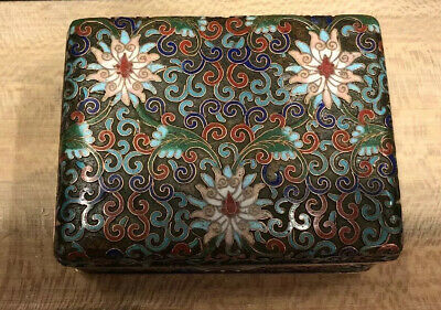 Antique  Flowers Motive cloisonne box chinese 1920's