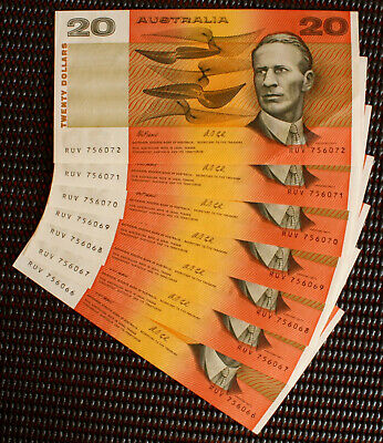 1991 Fraser/Cole $20 Banknotes Consective (x7) Numbered aUNC With 'E' - PIL's