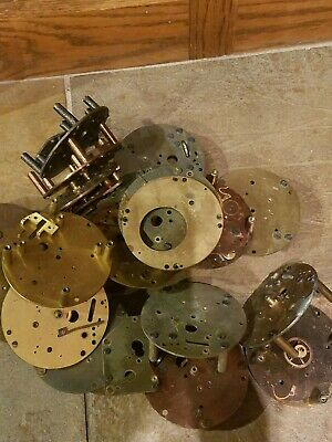 Big lot of old Chelsea Ship Clock brass Parts salvaged by Navy weighs over 11 lb