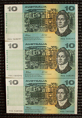 1985 Johnston/Fraser $10 Banknotes Consective x 3 Numbered All With 'H' - PIL's