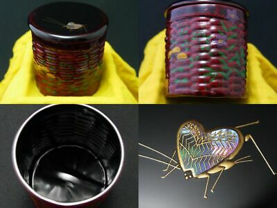 Japanese Lacquer Tea caddy Insect at Autumn Flowers makie Kago style Chaki 1105