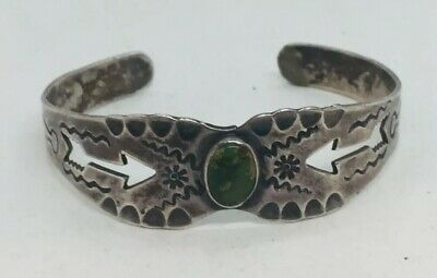 Fred Harvey Navajo Native American Sterling Silver Turquoise Arrow Cuff Bracelet